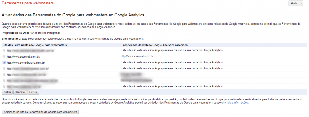 Linkando o Google Webmaster Tools no Google Analytics - Passo 3