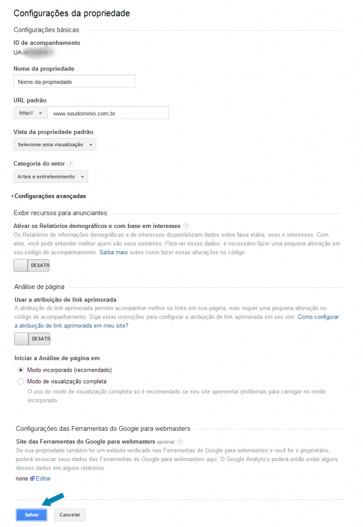Linkando o Google Webmaster Tools no Google Analytics - Passo 4