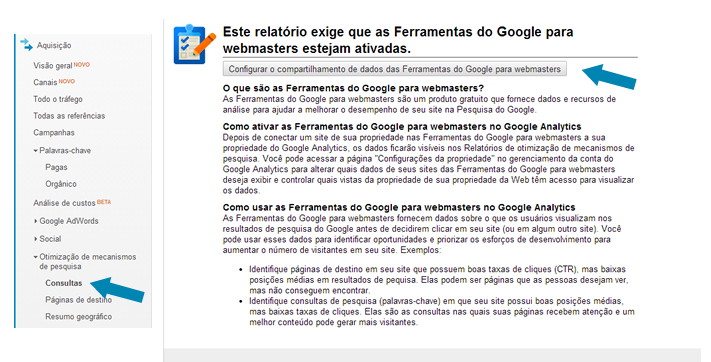 Linkando o Google Webmaster Tools no Google Analytics - Passo 1