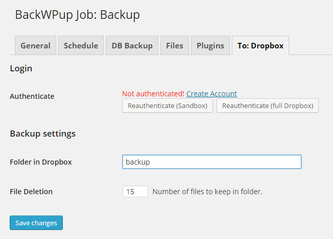 Backup para WordPress WP - passo 4