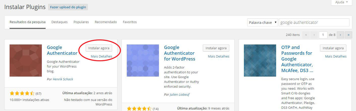 Busque o Plugin Google Authenticator no WordPress