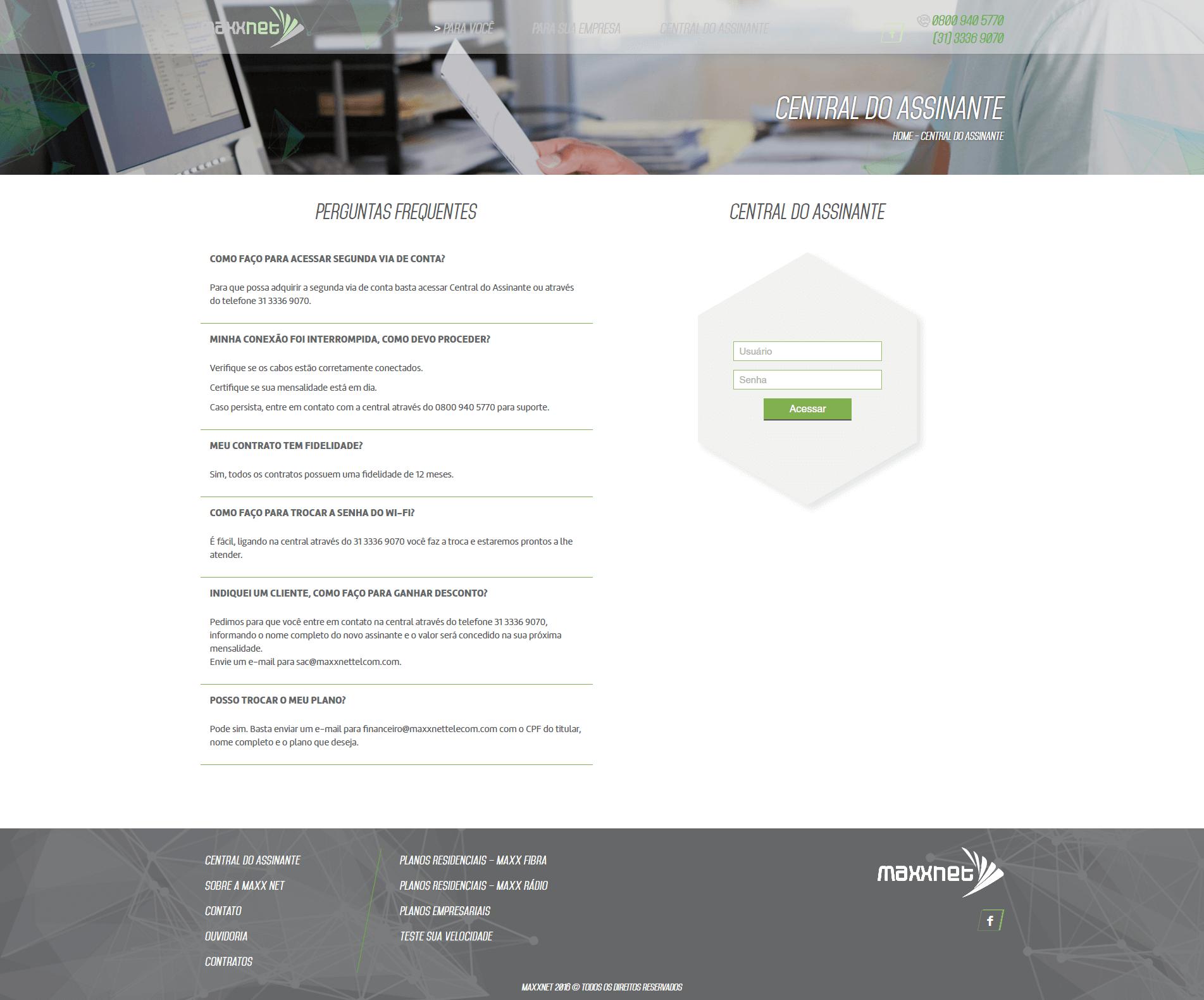 Página Central do Assinante Maxx Net