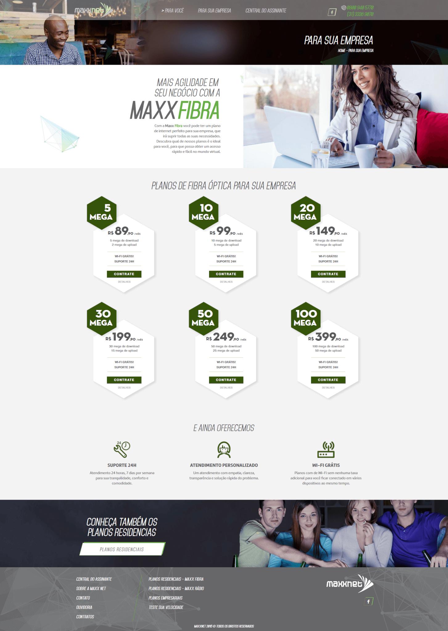 Página Empresa Maxx Net