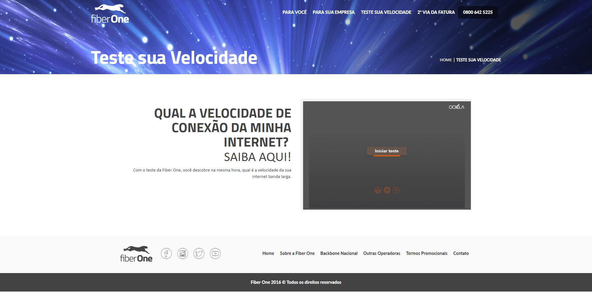 Página de teste Fiber One