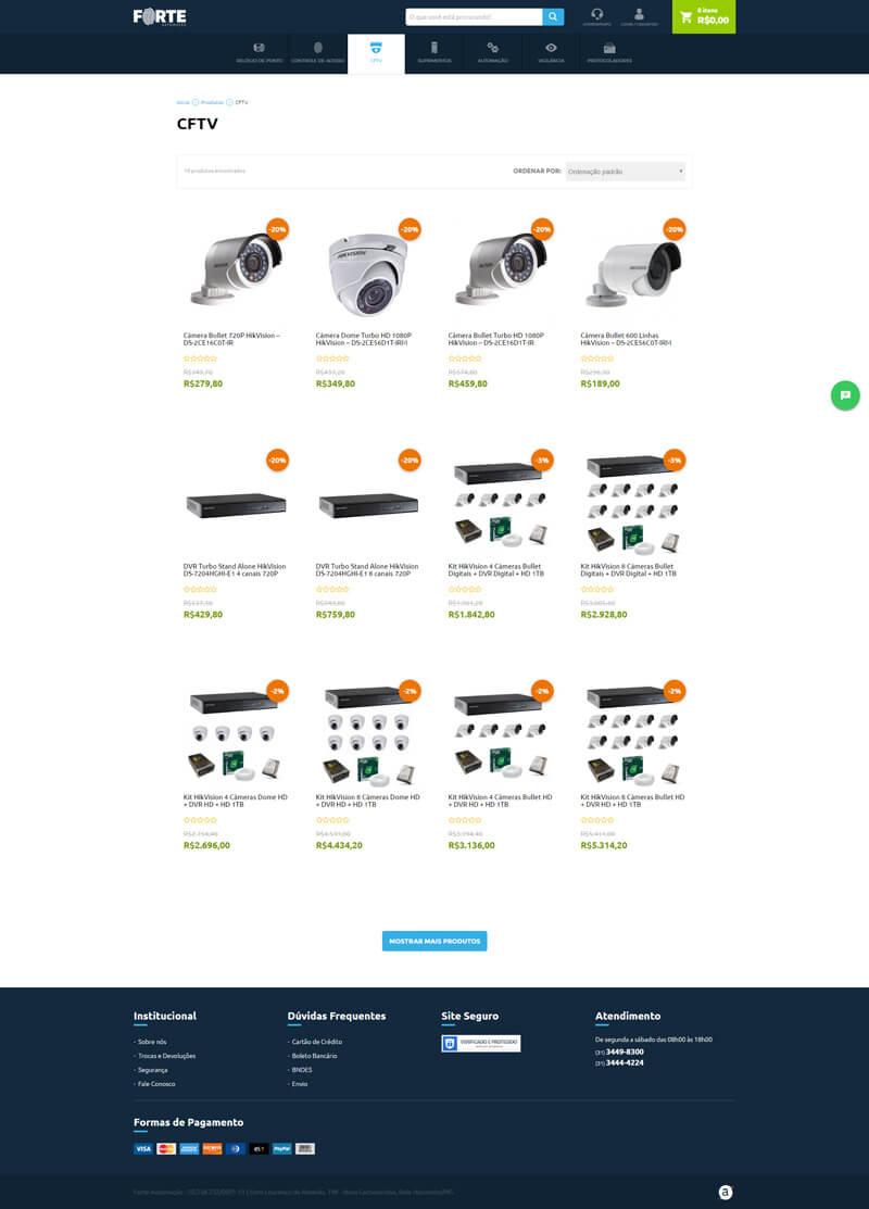 screenshot www.forteautomacao.com produtos