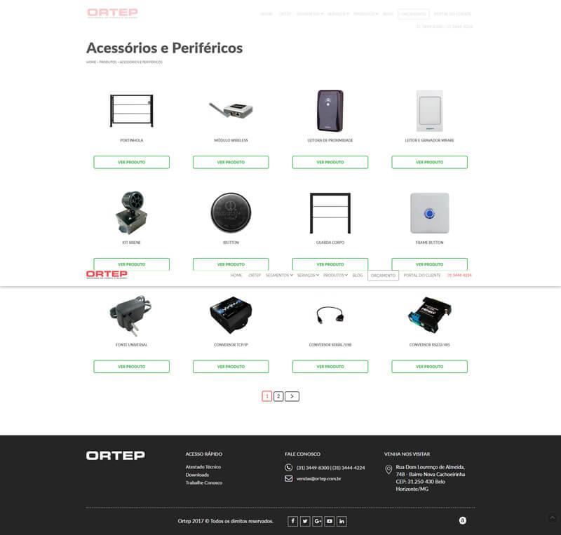 screenshot www.ortep.com acessórios e periféricos