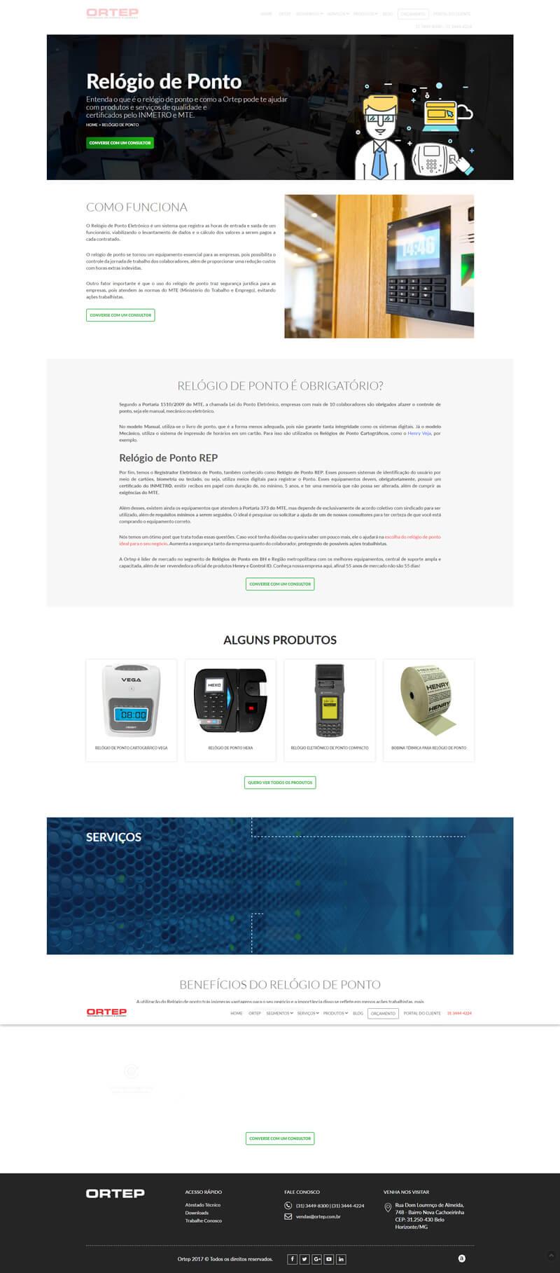 screenshot www.ortep.com relógio de ponto