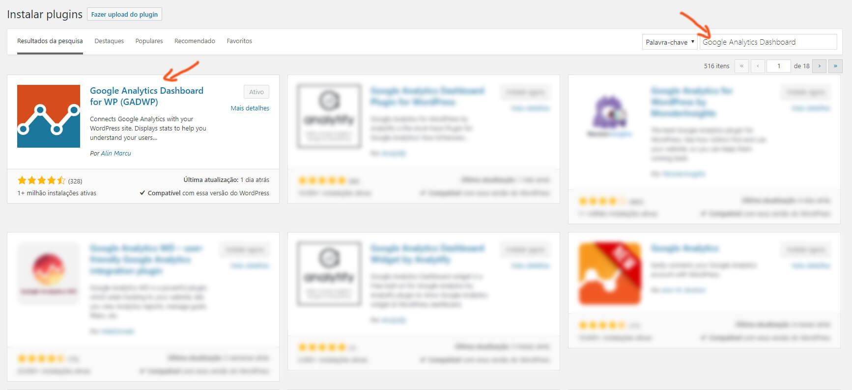 painel instalação plugin google analytics