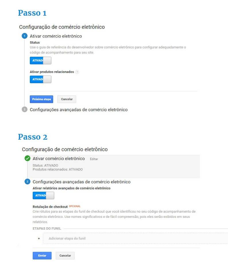 passo 01 e passo 02 google analytics