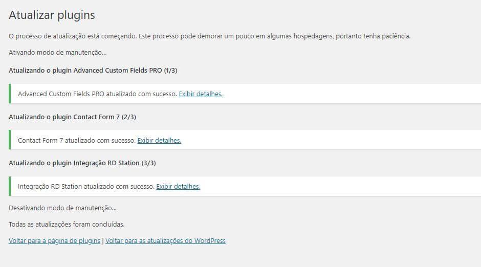 Plugins doWordPress atualizados