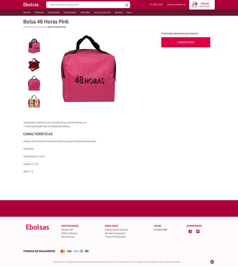 Página de produto - Ebolsas MK