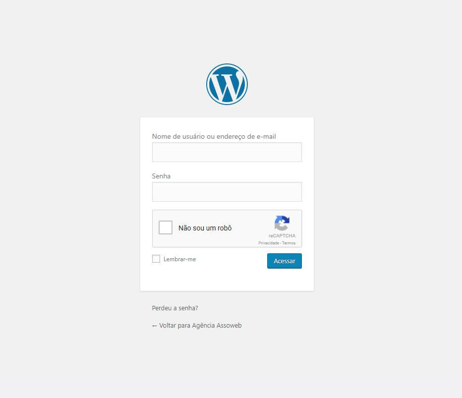 Tela de login do WordPress