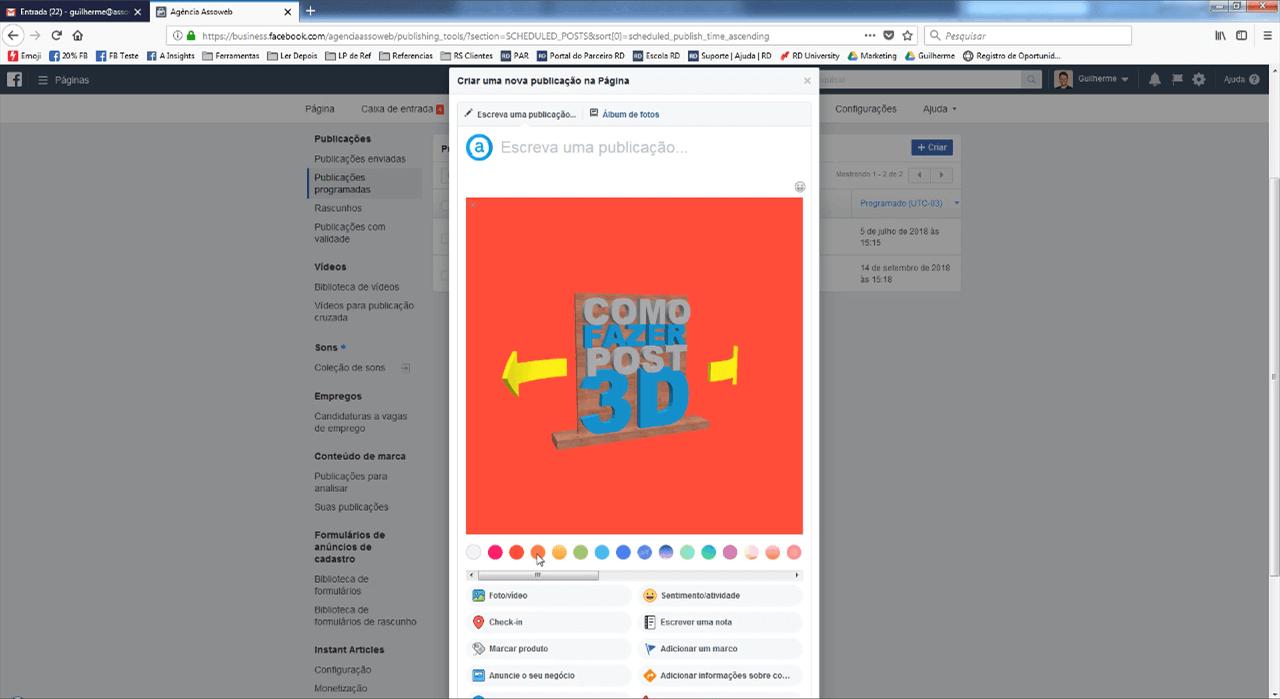 Escolhendo o background do post 3d no Facebook