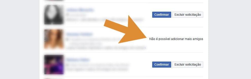 Não é possível adicionar mais amigos no Facebook