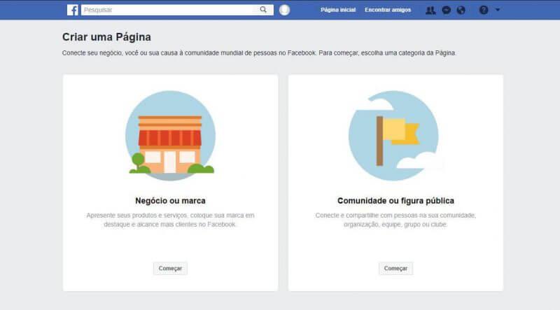 Negócio ou marca Facebook
