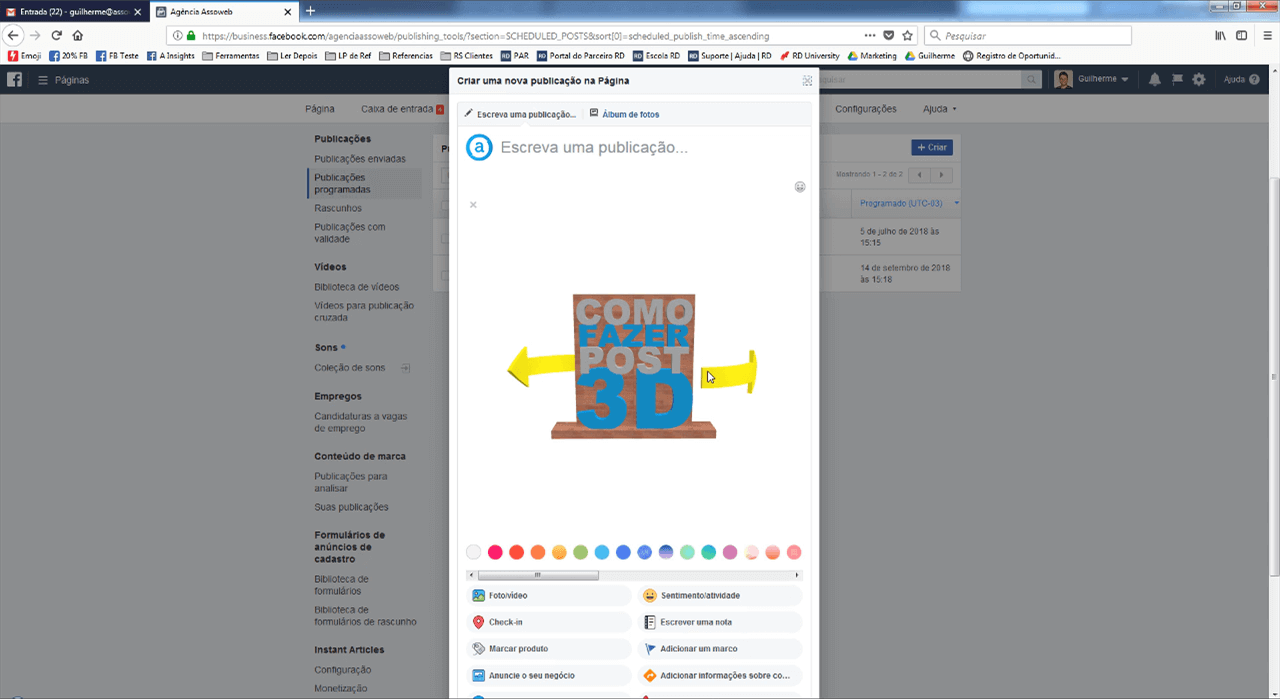 Visualizando o arquivo 3D no Facebook