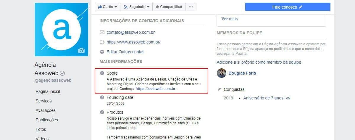 Ajustando a descrição do Facebook para empresas