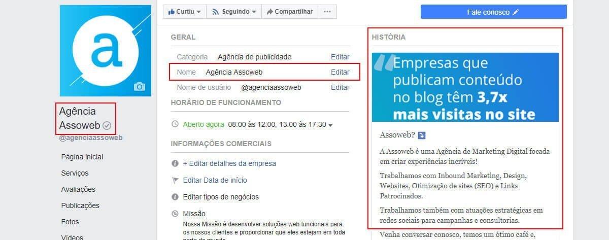 Como alterar o nome da pagina no facebook para empresas