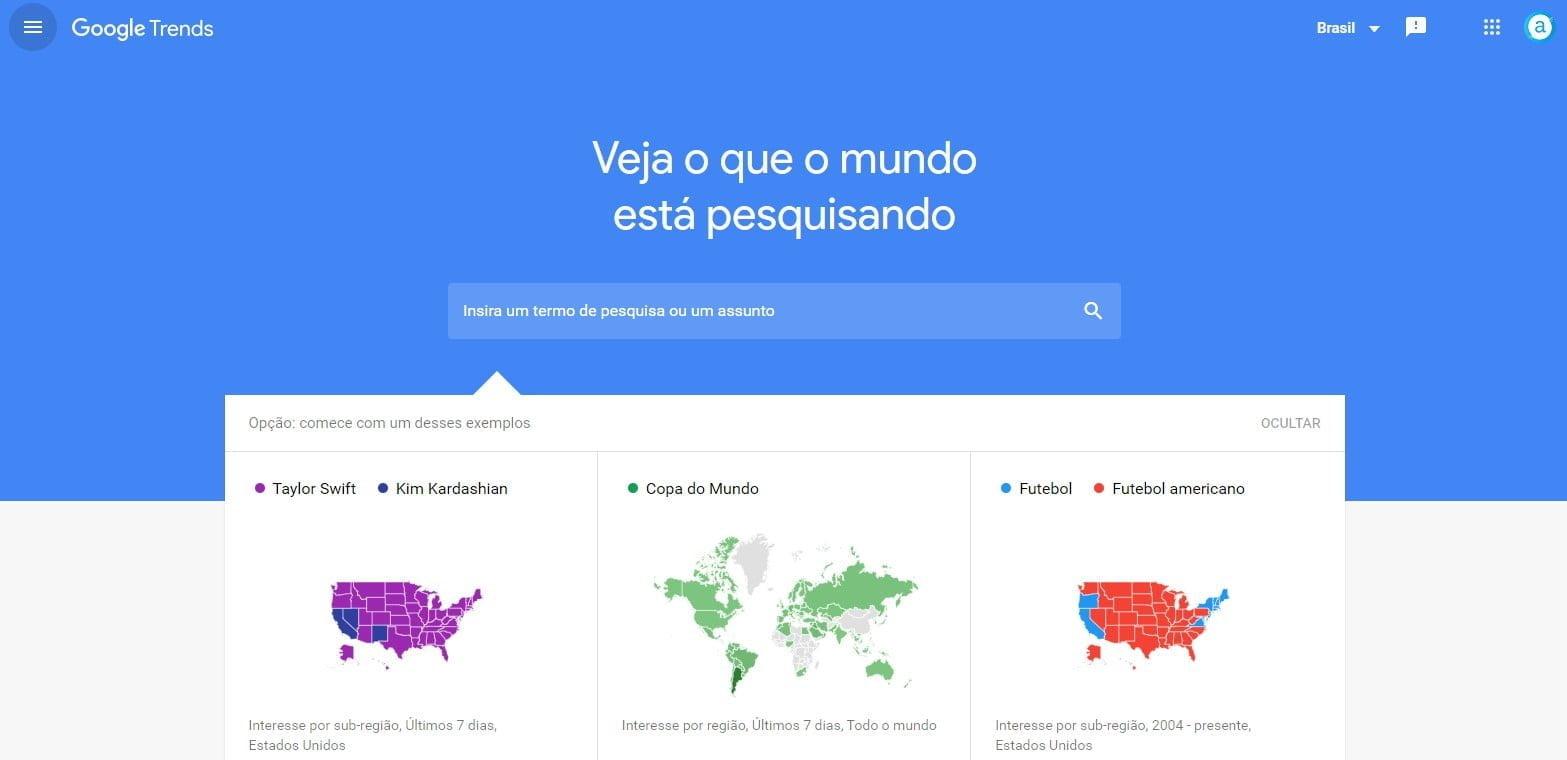 Tela inicial Google Trends