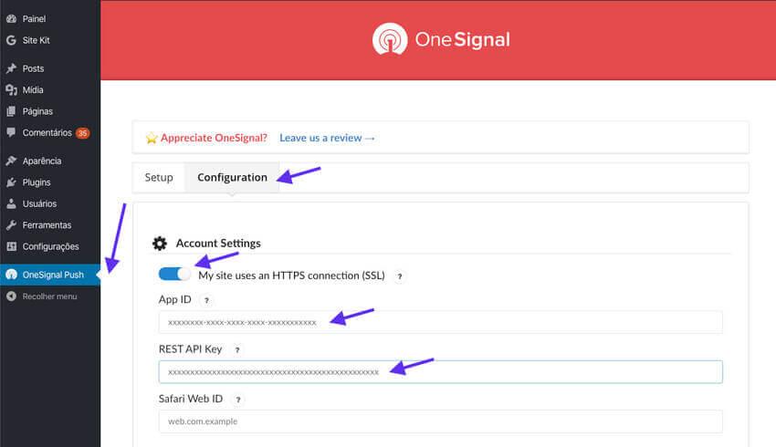 Configurando o Plugin OneSignal